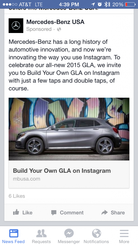 A screenshot of Mercedes Benz - Build your own GLA on Instagram