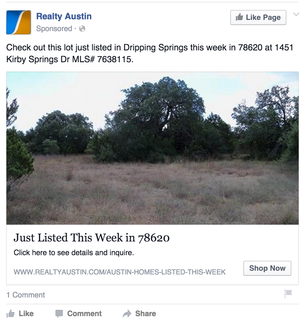 geo-targeted Facebook ad from a real estate agent in Texas