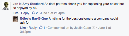 A comment thanking Edley's Bar-B-Que for its consideration when including captions on a post.