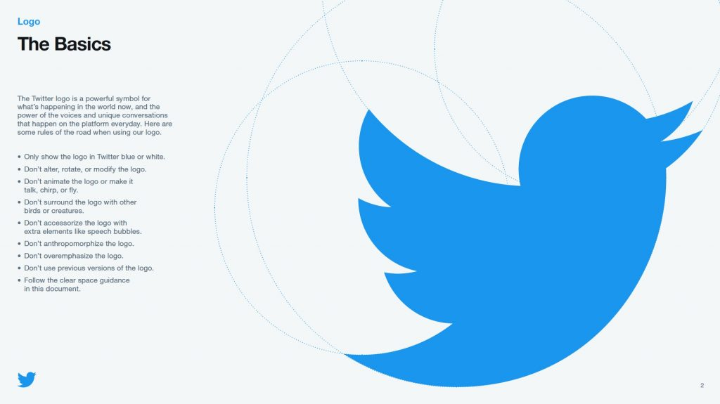 Inside Twitter's style guide they show you how the twitter logo is created using symmetry and shapes.