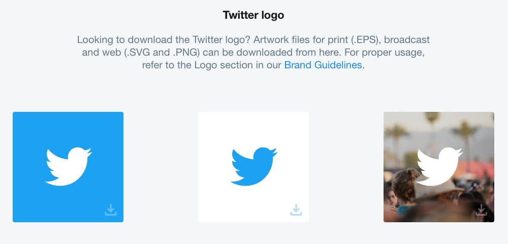 Twitter's style guide located on a dedicated web page also give you downloadable logo files to keep their branding consistent.