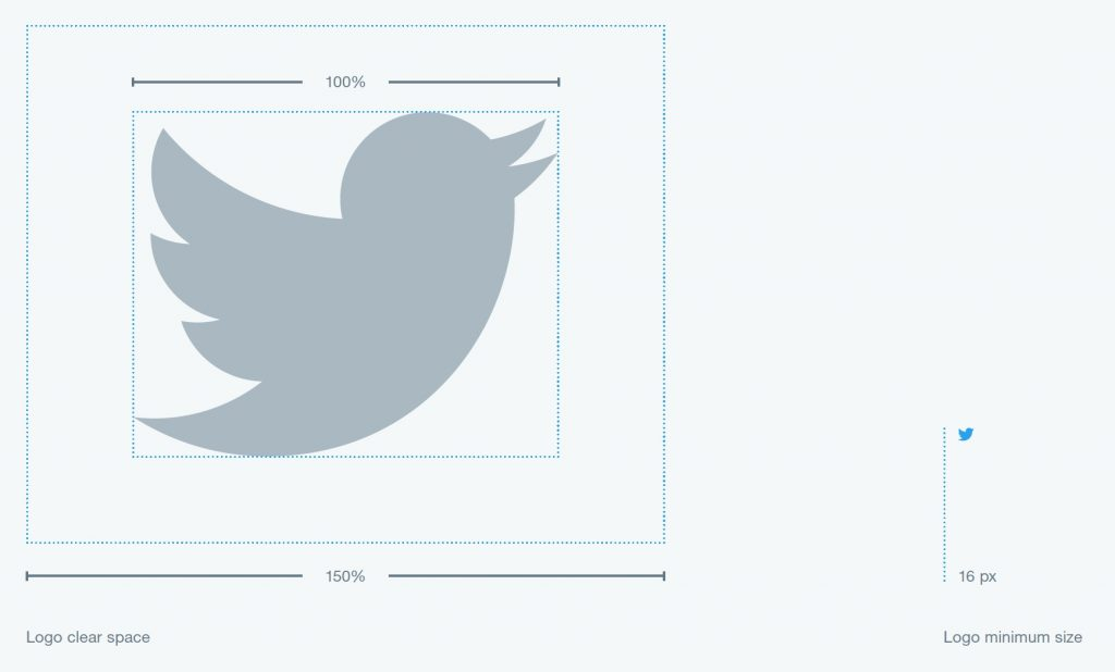 Inside the twitter style guide, they show you that white space is important to give their logo breathing room.