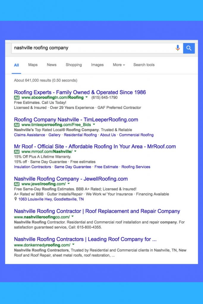 Nashville roofing company search results