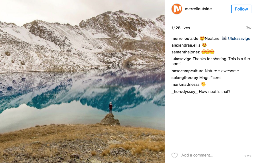 A Merrell Instagram post created by Parachute Media that exemplifies the brand's voice.