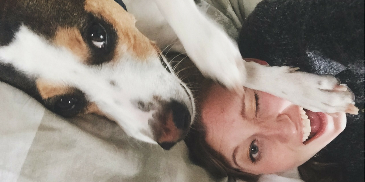 A snapshot of team member, Alison Ross, with her beloved dog, Annie.