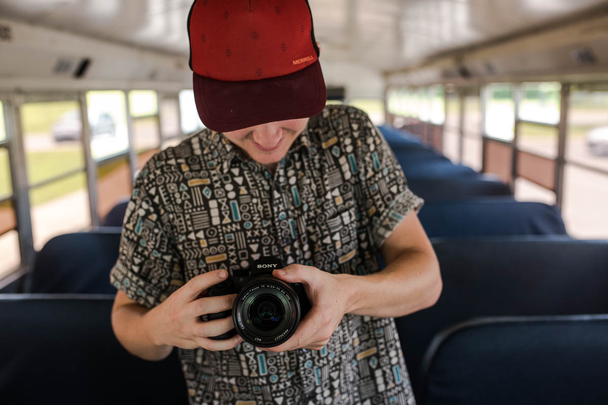 Videographer James filming the School Bus PSA.