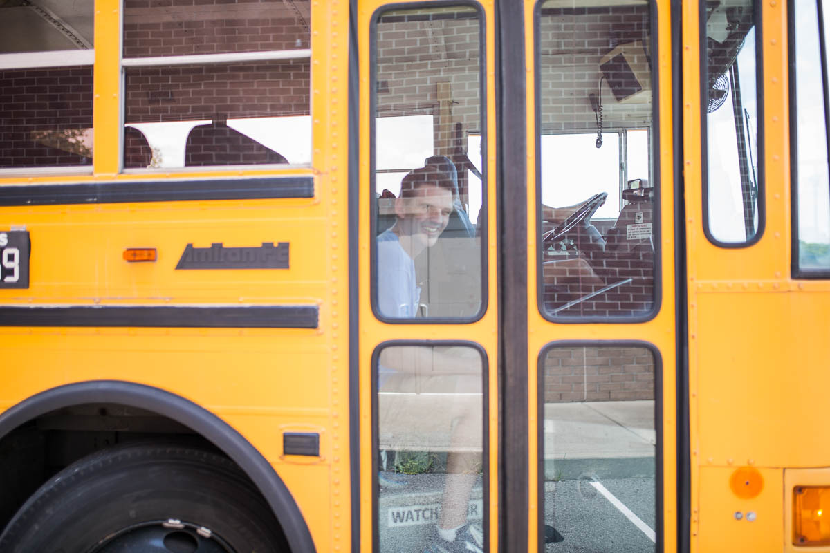 Director Kevin directs the bus driver to nail the shot for the School Bus PSA