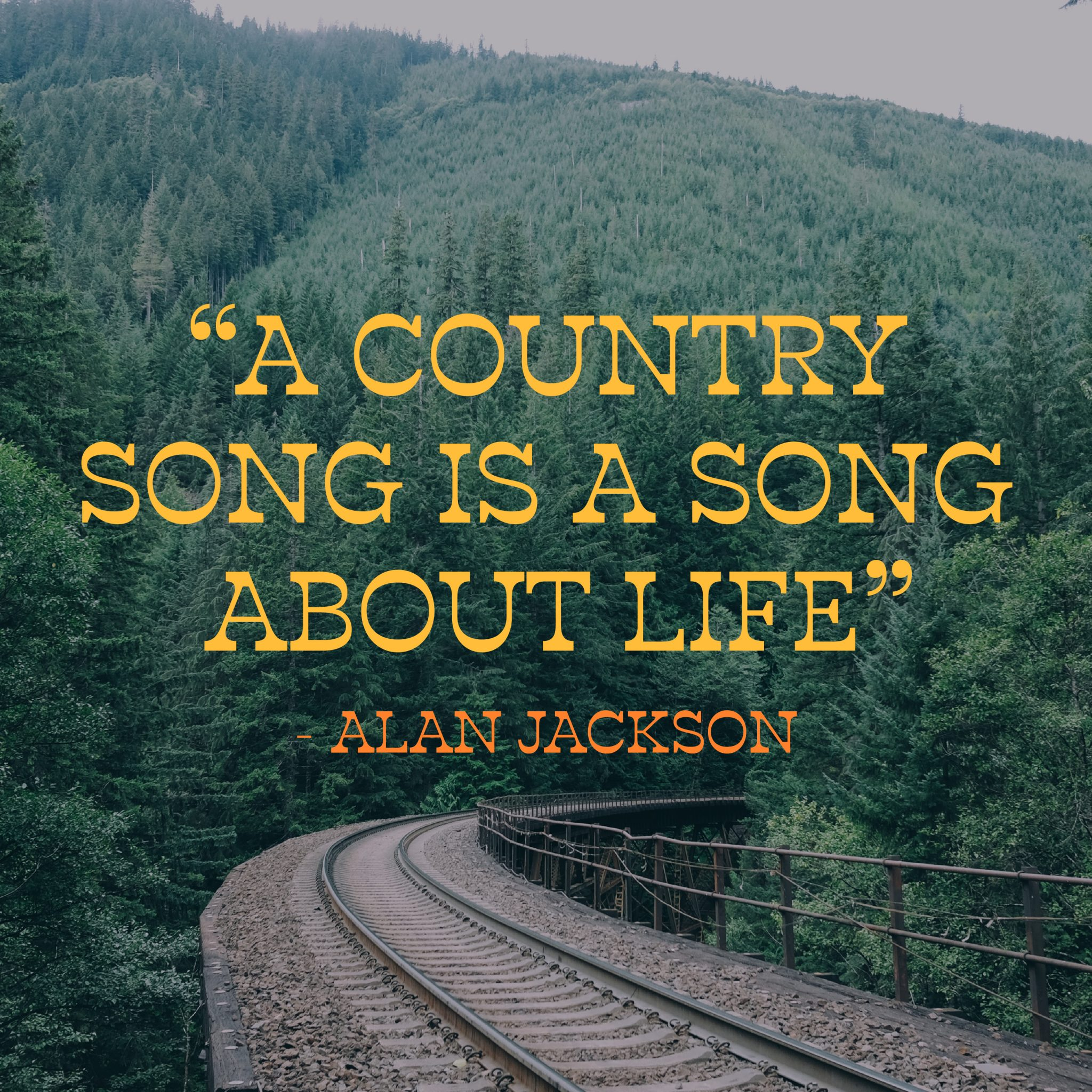 """""""A country song is a song about life"""" Alan Jackson"""