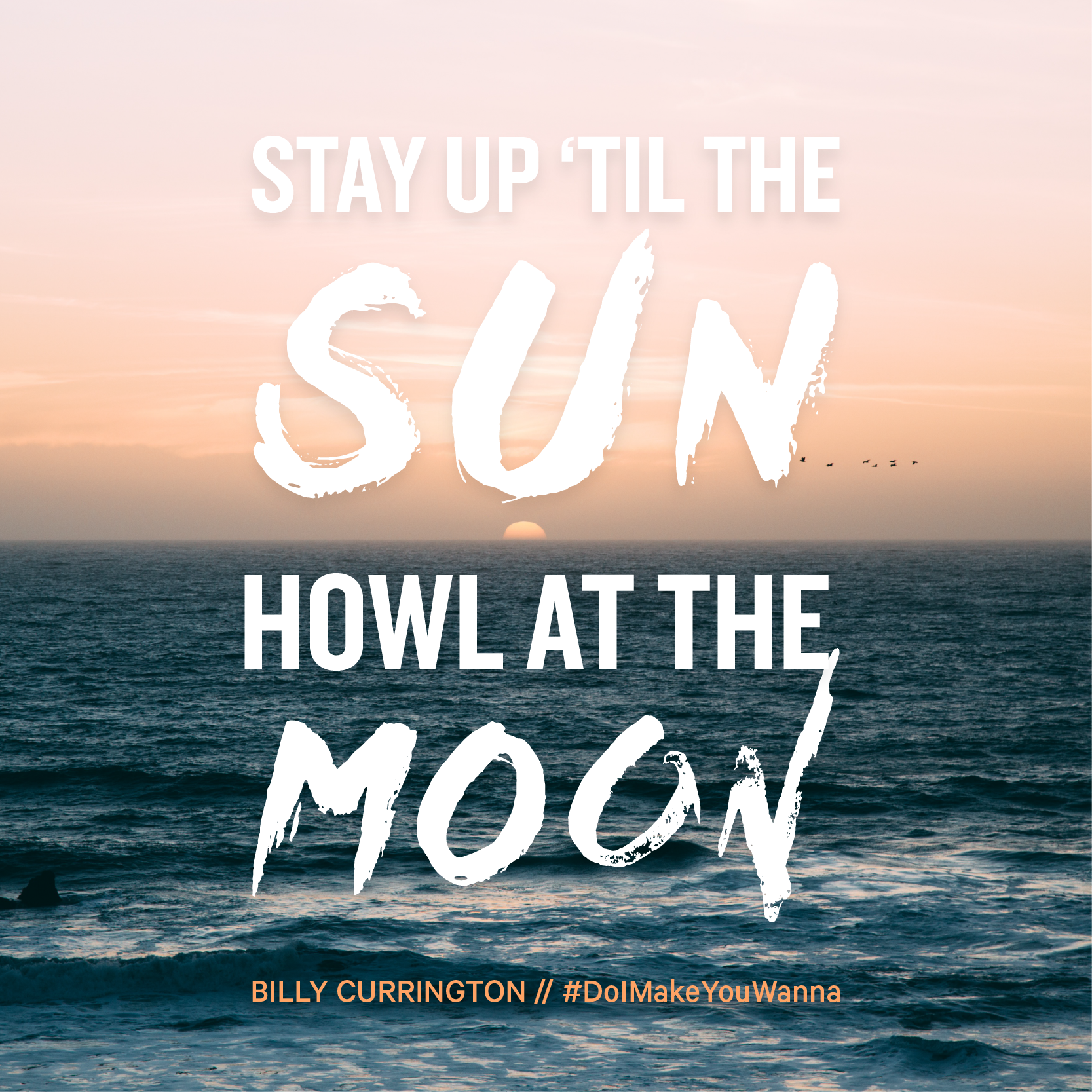"""""""Stay up 'til the sun howl at the moon."""" Billy Currington"""