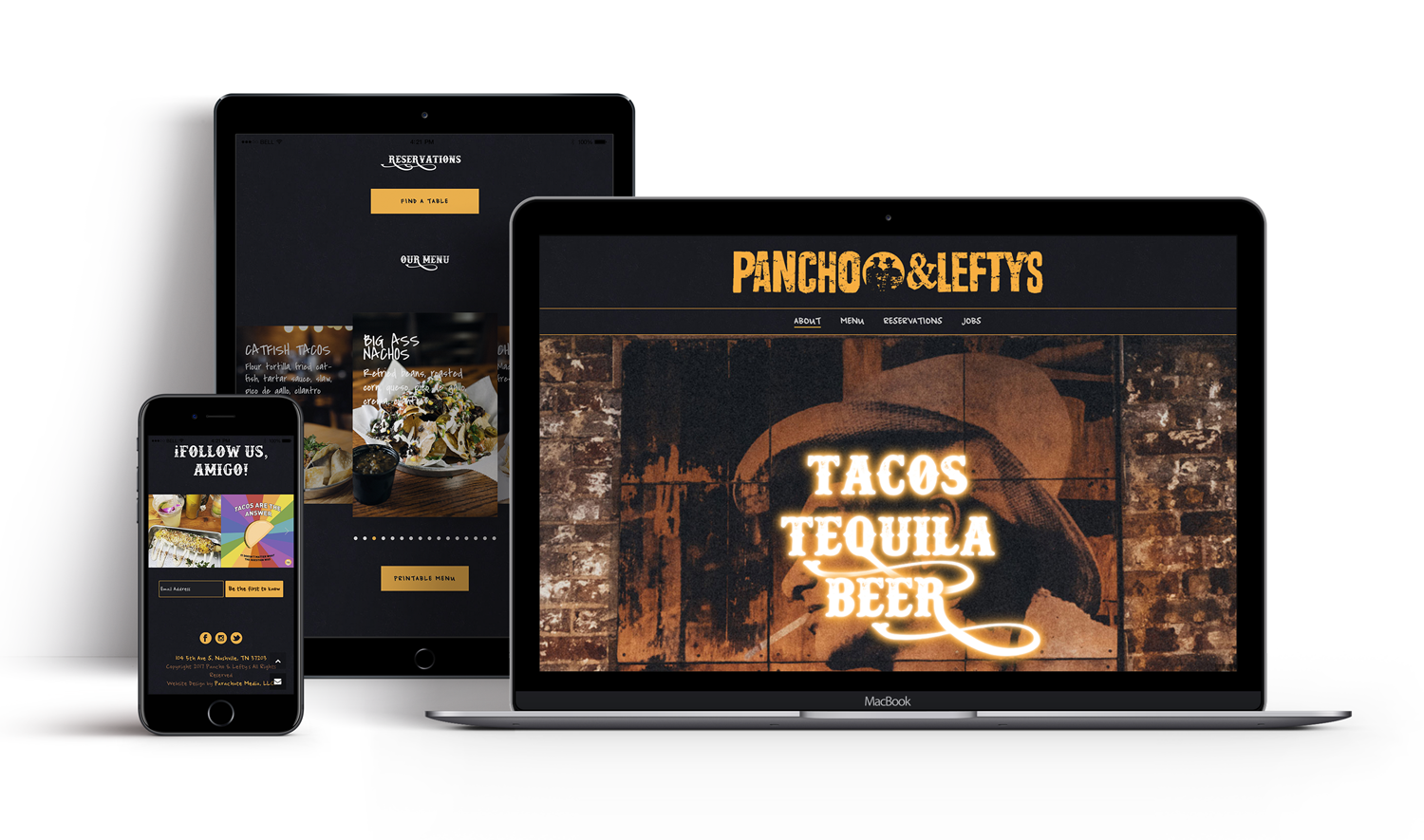 A mockup of of Pancho & Lefty's Custom WordPress Website