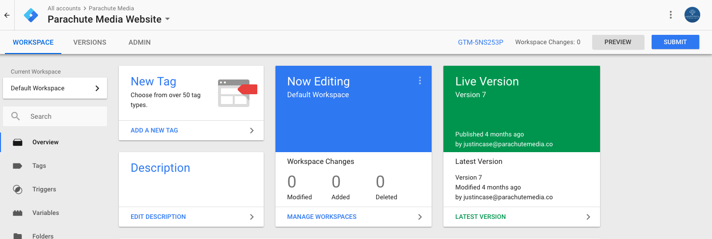 What you see when using Google Tag Manager