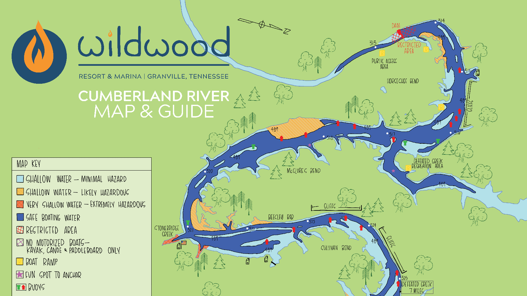 hand drawn map and guide of the Cumberland River