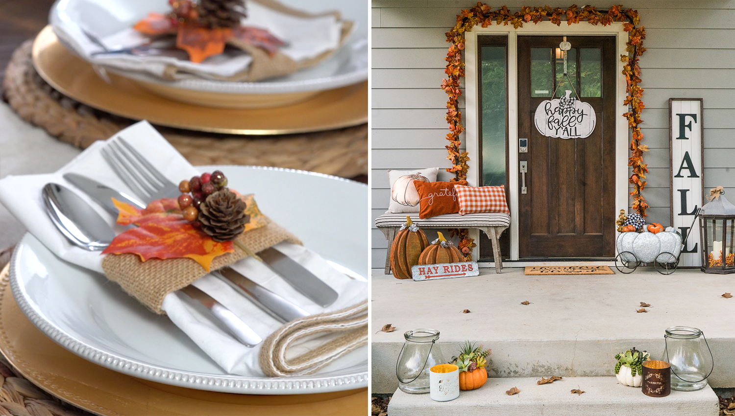 image of a DIY napkin ring holder and a front porch that Parachute Media decorated for a Kirkland's video shoot