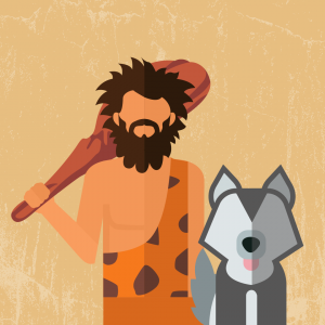 A digital illustration of a caveman and wolf