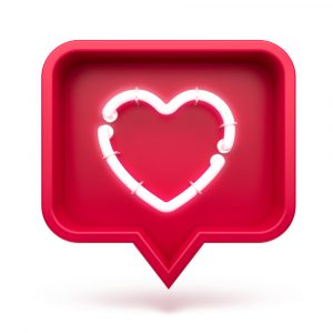 Like heart icon on a red pin isolated on white background. Neon-like symbol.