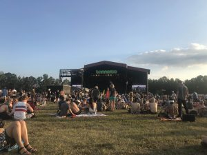 sitting in the grass looking at the Bonnaroo stage