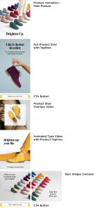 """The feature image shows six images of phones with screenshots of Hush Puppies' Bailey Chukka Boot Instant Experience ad. The first phone shows a lot of different color options of the shoes with text """"Brighten Up"""" beneath all of the shoes. The second phone shows the text """"Life is better in color. 21 curated colors to pop your personal style"""" with a blue background and a hand holding a purple colorway of the boot. Beneath that is a call to action button that reads """"swipe to see more."""" The third phone shows first a royal blue colorway of the shoe with an image of a girl as the background with the same royal blue eyeshadow on. Beneath that is an image of two legs wearing the purple colorway of the shoe with the text """"Brighten up your"""" above the image. The fourth phone shows the text """"21 fun colors"""" on top of an image with a baby blue background and a hand holding the baby blue colorway of the shoe. The nails of the hand holding the shoe are painted baby blue. The text underneath the shoe reads """"The Bailey Chukka Boot."""" Beneath that is the text """"which color compliments your style?"""" on top of a photo that has some of the shoes in it. The fifth phone shows the same baby blue image as above, with another picture of a variety of colors of the boot that has text that reads """"tap to take the quiz."""" Then, there is a call to action button that reads """"tap to take the quiz."""" The last phone shows the landing page to take the quiz. The page shows an image of all of the colors of the boot and reads """"Quiz - find your true hue."""""""