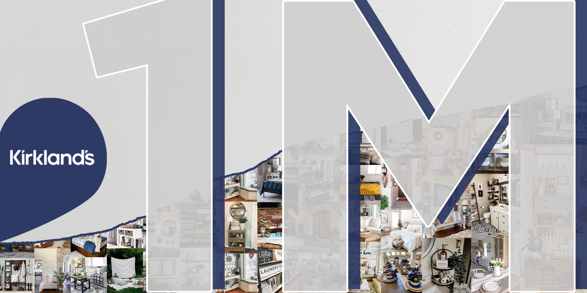 Gray and navy graphic featuring Kirkland's logo, and 1M, standing for 1 million in large letters. In the background is a growth line representing follower increase, as well as top performing images that were featured in Kirkland's Instagram posts.