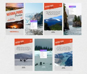 A graphic visualizing the layout of a National Parks Instagram Story trivia project. It features seven screengrabs of Kenai Fjordes National Park with three question slides and three slides with fun facts about the park.