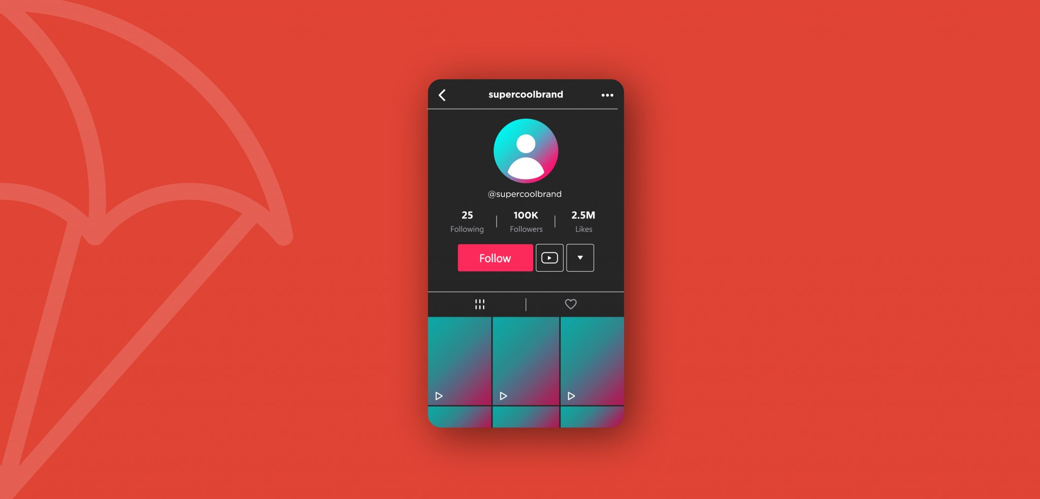 A graphic with a bright red background and a graphic of the TikTok interface of a user profile.
