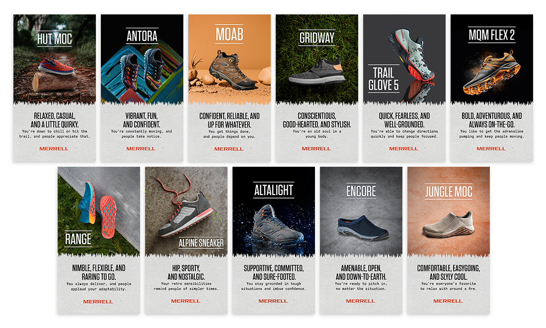 """Display of Instagram Story slides created to follow Merrell's AR filter, """"What Merrell Shoe Are You?"""""""