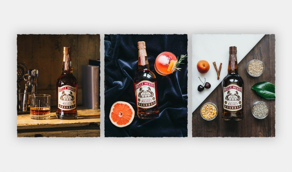 Three images of Belle Meade Bourbon on a gray background.k