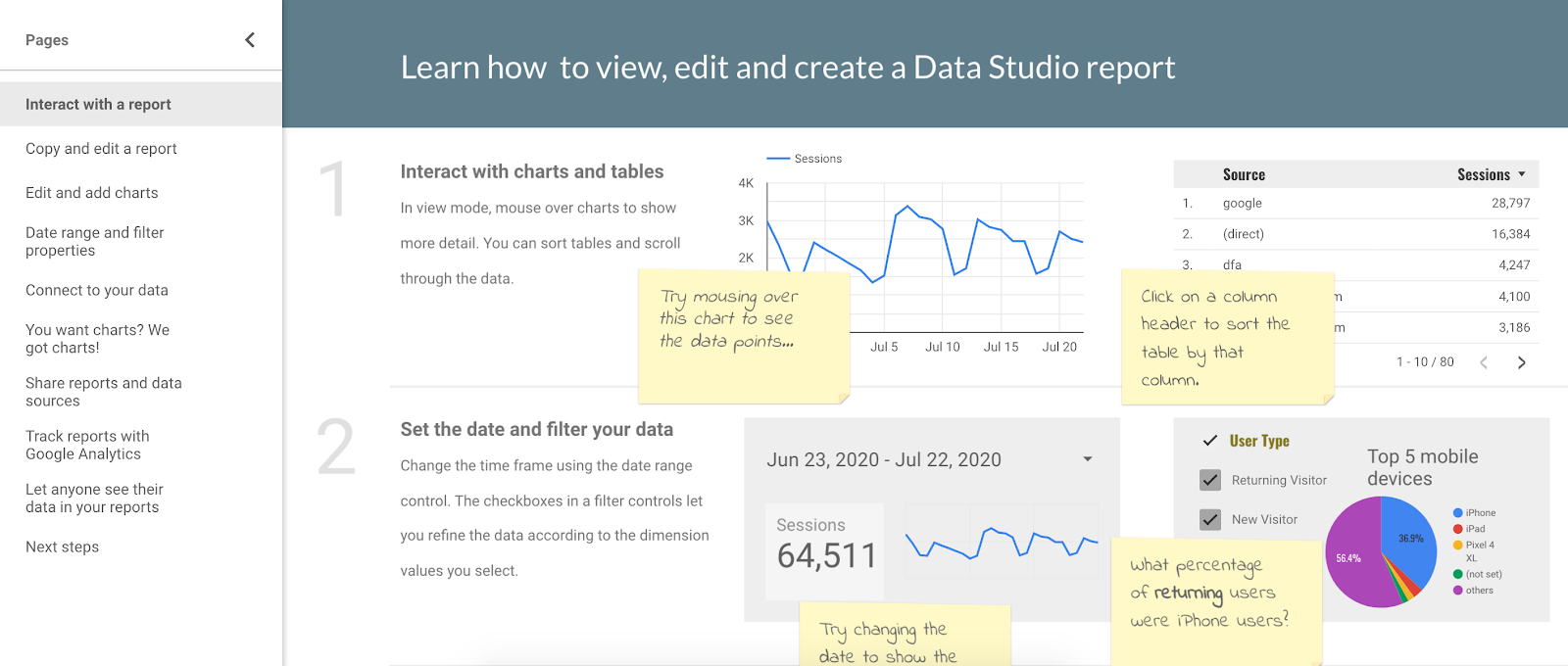 Screenshot of the Google Data Studio interface and tutorial