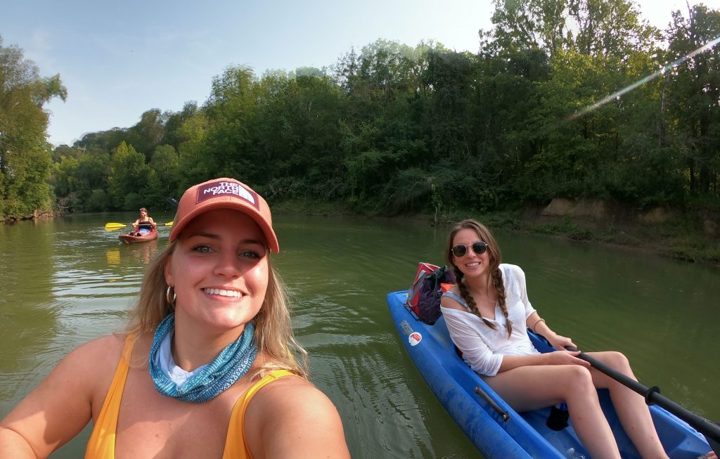 Two girls kayaking