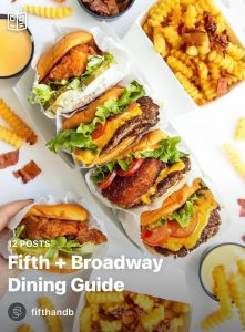 A screenshot of the Fifth + Broadway Dining Guide on Instagram.
