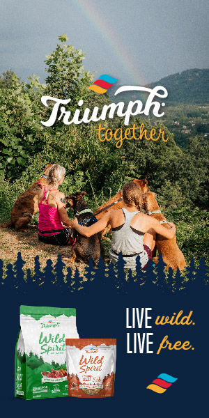 Two women with their dogs featured on an ad.