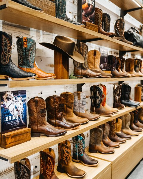 Picture of the boot wall at Ariat