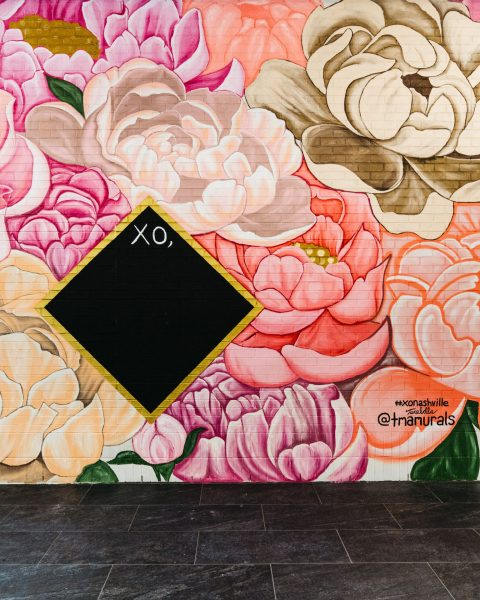 Image of the floral mural at Fifth + Broadway